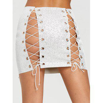 DIY Lace Up Sequined Eyelet Mini Skirt - SILVER SILVER