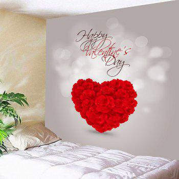 Waterproof Valentine's Day Rose Love Heart Patterned Wall Art Tapestry - RED W91 INCH * L71 INCH