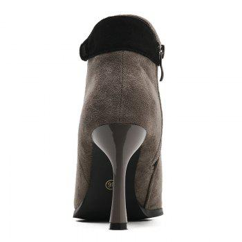 Buckle Strap Faux Suede Stiletto Heel Ankle Boots - GRAY 36