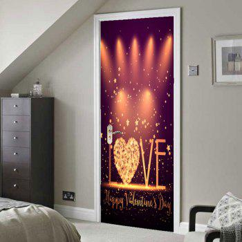 Valentine's Day Love Stage Print Enviromental Removable Door Stickers - COLORFUL 38.5*200CM*2PCS