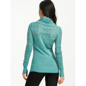 Cowl Neck Open Knitted Sweater - MARINE GREEN ONE SIZE