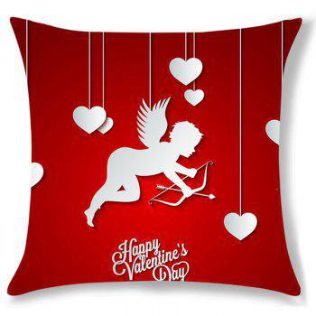 Valentine Cupid Heart Pattern Decorative Linen Pillow Case - RED W18 INCH * L18 INCH
