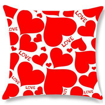 Heart Love Print Valentines Day Linen Sofa Pillowcase - RED W18 INCH * L18 INCH