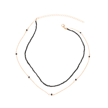 Faux Crystal Layered Beaded Collarbone Necklace - GOLDEN