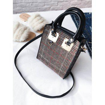 Plaid Metal Handbag - RED