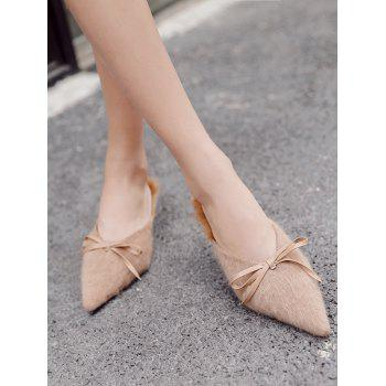 Bowknot Artificial Fur Mules Shoes - KHAKI 38
