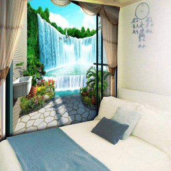 Window Scenery Waterfall Print Wall Hanging Tapestry - COLORMIX W79 INCH * L59 INCH
