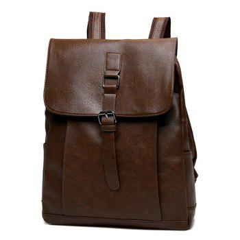 Buckle Strap Faux Leather Backpack - DEEP BROWN