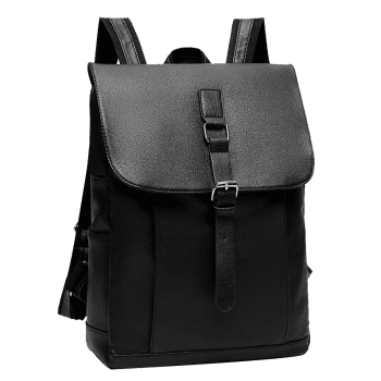 Buckle Strap Faux Leather Backpack - BLACK