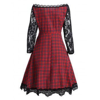 Lace Panel High Waist Vintage Plaid Dress - COLORMIX M