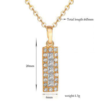 Rhinestone Rectangle Pendant Collarbone Necklace - GOLDEN