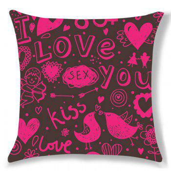 Letters Lovebirds Print Pillow Case - PINK W18 INCH * L18 INCH