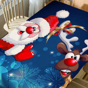 Santa Claus And Christmas Elk Print Table Cloth - BLUE/WHITE/RED W60 INCH * L84 INCH