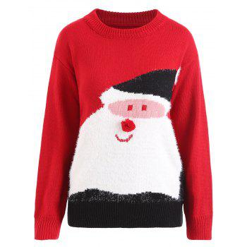 Plus Size Pom Christmas Santa Claus Sweater - RED RED