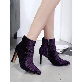 Side Zip Stretchy Velvet Ankle Boots - PURPLE 37