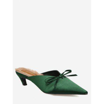 Cone Heel Bowknot Faux-fur Lined Mules Shoes - GREEN GREEN
