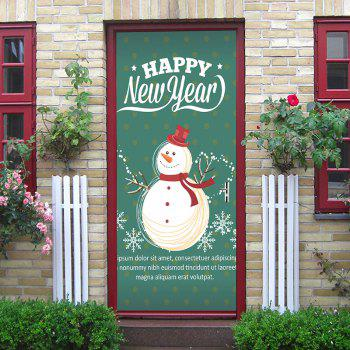 Happy New Year Snowman Pattern Door Stickers - COLORMIX COLORMIX