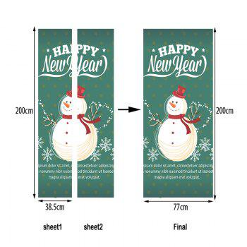 Happy New Year Snowman Pattern Door Stickers - COLORMIX 38.5*200CM*2PCS