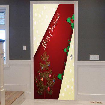 Merry Christmas Tree Pattern Door Stickers - RED RED