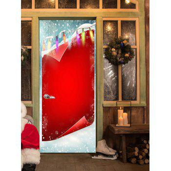 Christmas Background and Light Printed Door Stickers - RED RED