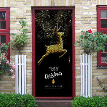 Christmas Home Decoration Flying Elk Pattern Removable Door Stickers - GOLDEN 38.5*200CM*2PCS