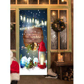 Christmas Lantern Baubles Pattern Door Stickers - COLORMIX 38.5*200CM*2PCS