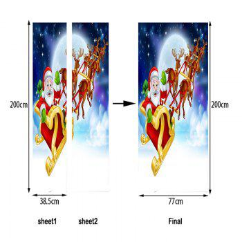 Christmas Santa Deer Sleigh Pattern Door Stickers - COLORMIX 38.5*200CM*2PCS