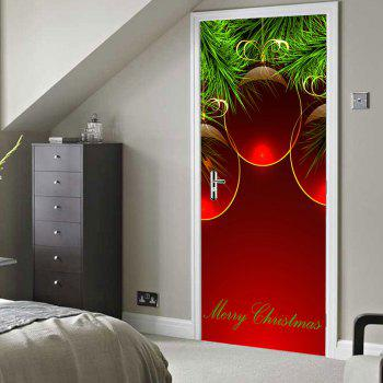 Merry Christmas Baubles Pattern Door Stickers - RED RED