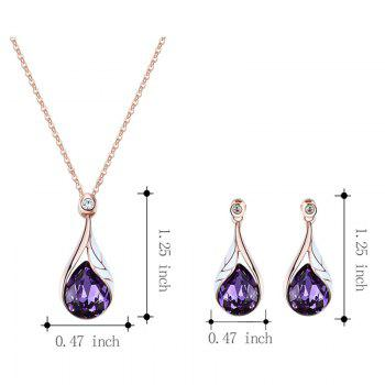 Artificial Crystal Water Drop Pendant Necklace with Earrings -  PURPLE
