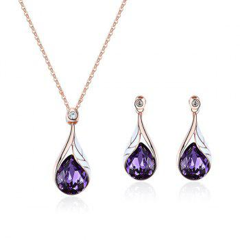 Artificial Crystal Water Drop Pendant Necklace with Earrings - PURPLE PURPLE