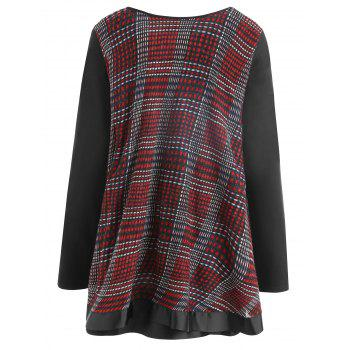 Plaid Ruffle Plus Size Top - WINE RED WINE RED