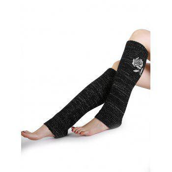 Vintage Rose Embroidery Decorated Knitted Leg Warmers - BLACK BLACK