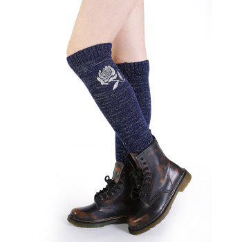 Vintage Rose Embroidery Decorated Knitted Leg Warmers - CADETBLUE CADETBLUE
