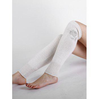 Vintage Rose Embroidery Decorated Knitted Leg Warmers - BEIGE