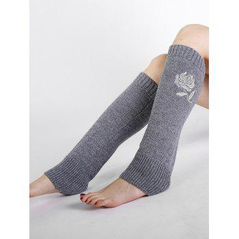 Vintage Rose Embroidery Decorated Knitted Leg Warmers - LIGHT GRAY