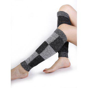 Checkered Pattern Embellished Color Splice Knitted Leg Warmers - GRAY GRAY