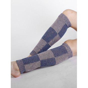 Checkered Pattern Embellished Color Splice Knitted Leg Warmers - PURPLE