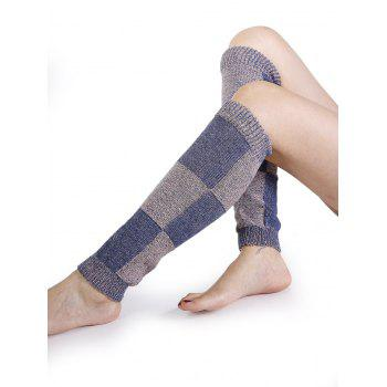 Checkered Pattern Embellished Color Splice Knitted Leg Warmers - PURPLE PURPLE