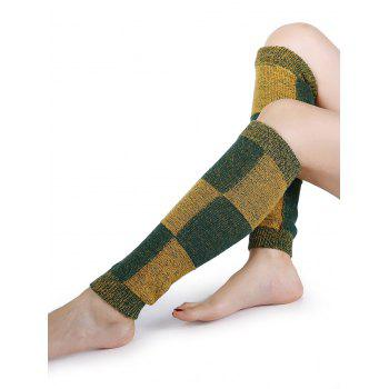 Checkered Pattern Embellished Color Splice Knitted Leg Warmers - GREEN GREEN