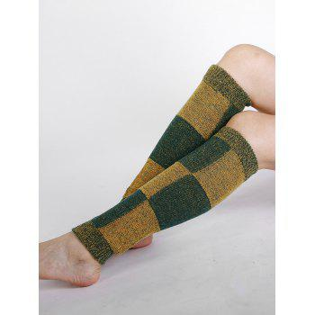 Checkered Pattern Embellished Color Splice Knitted Leg Warmers - GREEN