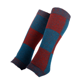 Checkered Pattern Embellished Color Splice Knitted Leg Warmers - BLUE