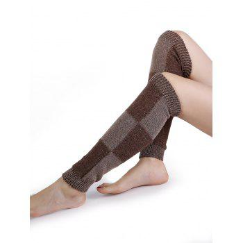 Checkered Pattern Embellished Color Splice Knitted Leg Warmers - COFFEE COFFEE