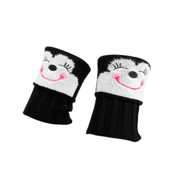 Funny Cartoon Monkey Pattern Decorated Knitted Short Leg Warmers -  BLACK
