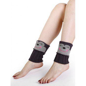 Funny Cartoon Monkey Pattern Decorated Knitted Short Leg Warmers - DEEP GRAY DEEP GRAY