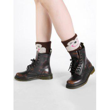 Funny Cartoon Monkey Pattern Decorated Knitted Short Leg Warmers -  COFFEE