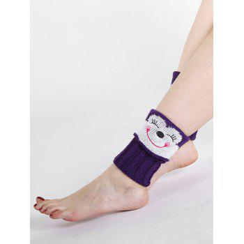 Funny Cartoon Monkey Pattern Decorated Knitted Short Leg Warmers -  PURPLE