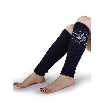 Vintage Snowflake Pattern Faux Pearl Embellished Knitted Sleeve Socks - CADETBLUE CADETBLUE