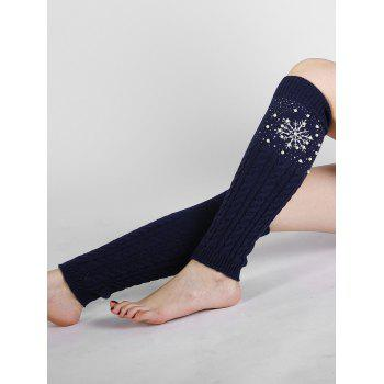 Vintage Snowflake Pattern Faux Pearl Embellished Knitted Sleeve Socks - CADETBLUE