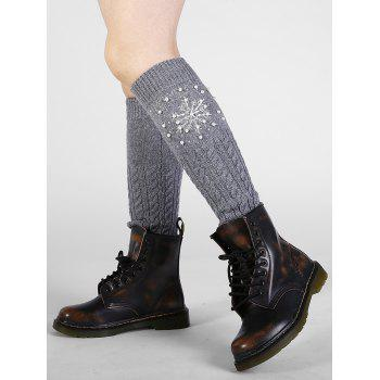 Vintage Snowflake Pattern Faux Pearl Embellished Knitted Sleeve Socks - GRAY