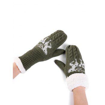 Christmas Elk Pattern Embellished Rhinestone Knitted Gloves - GREEN GREEN